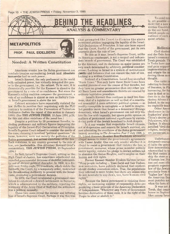Eidelberg 3 November 1995 Article