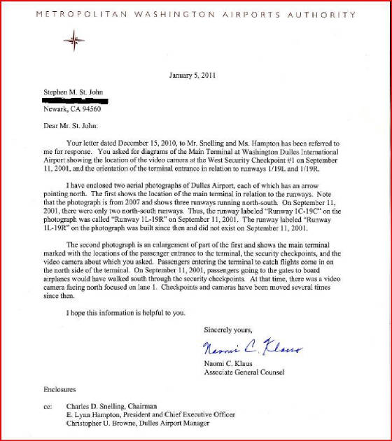 Metropolitan Washington Airports Authority 05 January 2011 Letter from Naomi Klaus